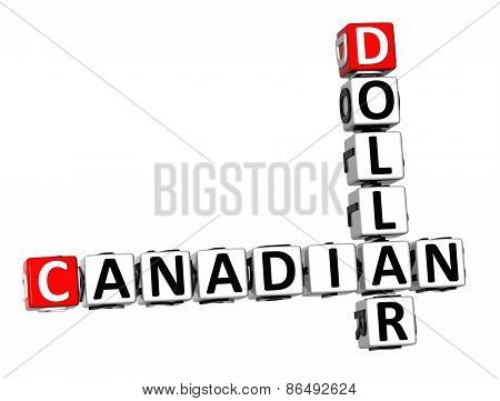 3D Crossword Canadian Dollar On White Background
