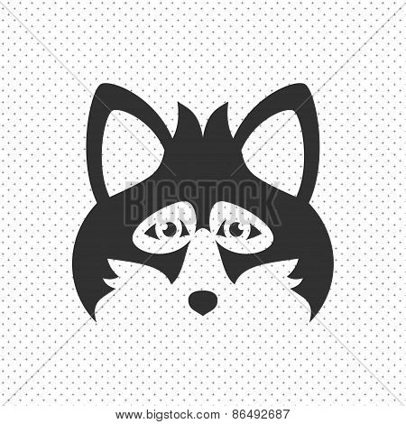 Simple Black Animal Portrait Vector Illustration. Fox