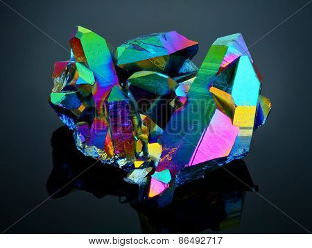 Extreme sharp Titanium rainbow aura quartz crystal cluster stone taken with macro lens