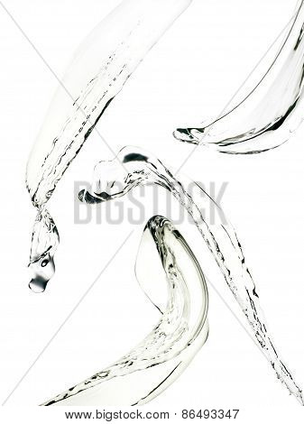 Water splashes collection over white background