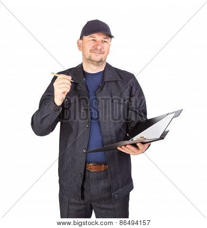 Worker in hard hat with opened folder.