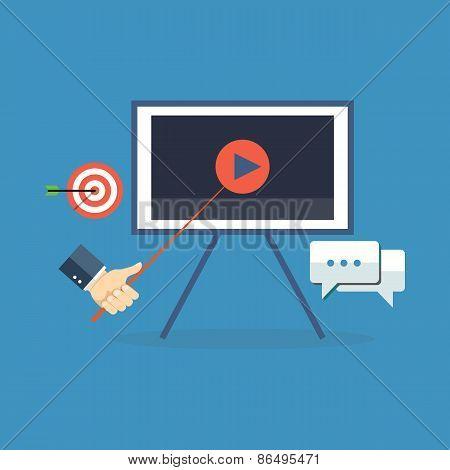 Presentation, Training, Seminar Concept. Flat Design.