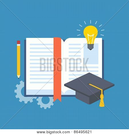 Education, Learning, Studying Concept. Flat Design.