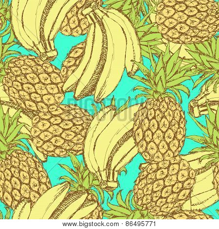 Sketch Bananas And Pineapple In Vintage Style