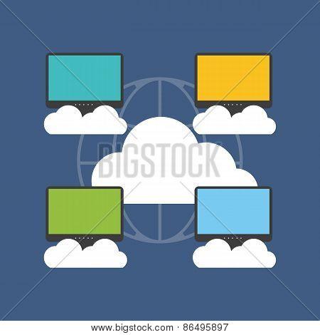Cloud Computing Concept. Flat Design.