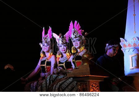 Women dressed as princesses, Yogyakarta city festival parade
