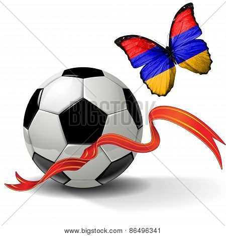 Soccer ball with ribbon and butterfly with the flag of Armenia