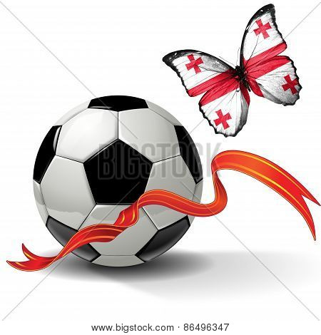 Soccer ball with ribbon and butterfly with the flag of Georgia