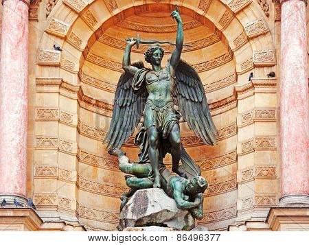 The Statue Of Saint Michael, Paris