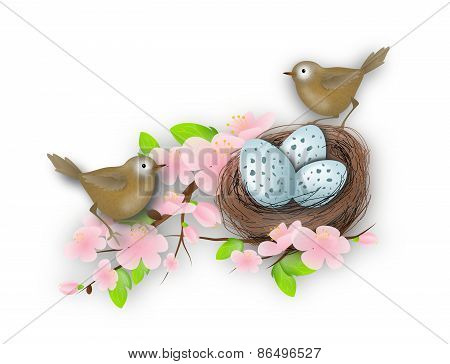 Bird's Nest With Two Birds
