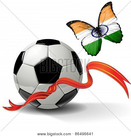 Soccer Ball With Ribbon And Butterfly With The Flag Of India