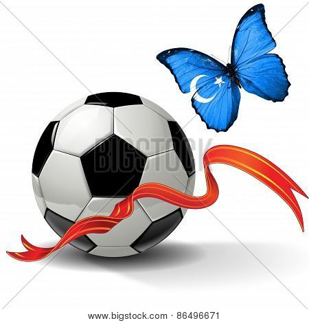 Soccer ball with ribbon and butterfly with the flag of  Xinjiang Uygur Autonomous Region