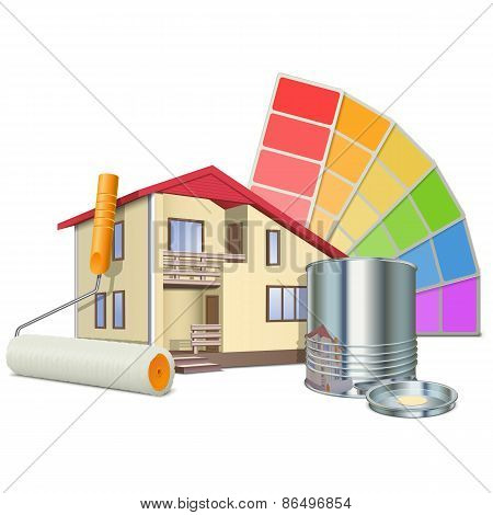 Vector Painting Concept With House