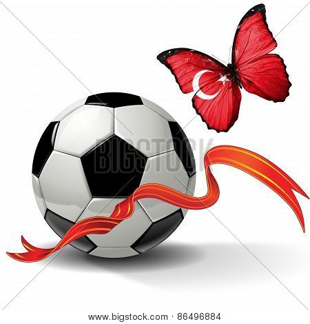 Soccer ball with ribbon and butterfly with the flag of Turkey