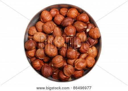 Hazelnuts In Metal Bowl Isolated
