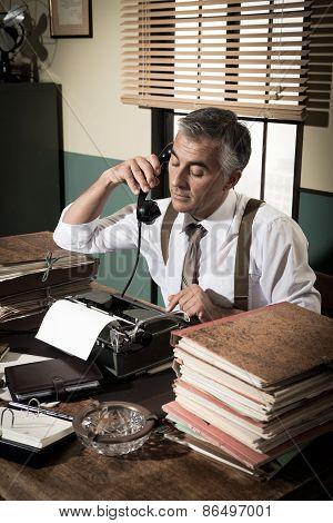 Vintage Journalist On The Phone