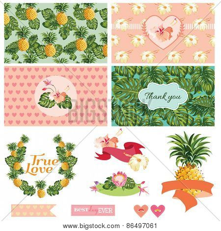 Pineapples and Tropical Leaves Background -Vintage Pattern - in vector