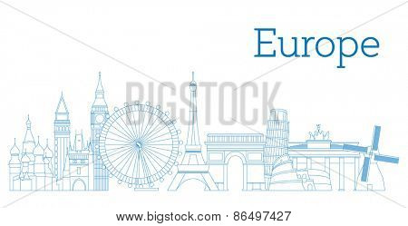 Europe skyline detailed silhouette Outline version Vector illustration