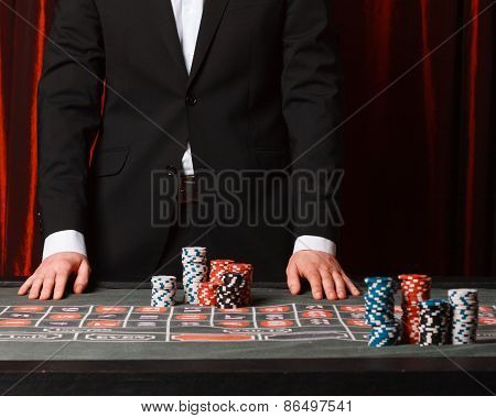 man playing at the casino