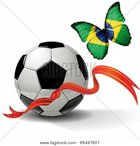 Soccer ball with ribbon and butterfly with the flag of Brazil