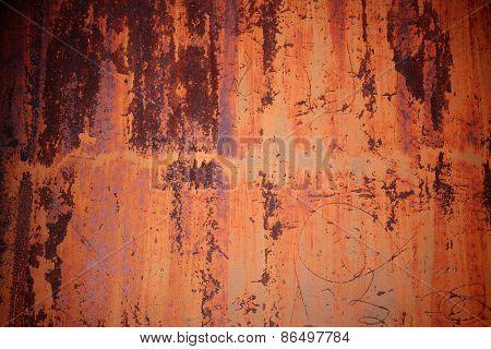 Grunge Rusty Orange Zinc Wall