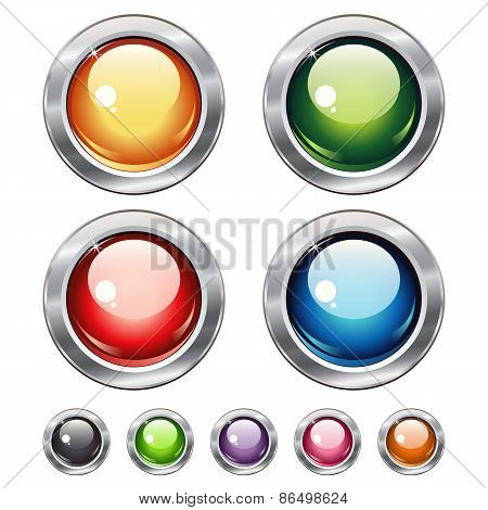 Round Blank Web Shiny Buttons