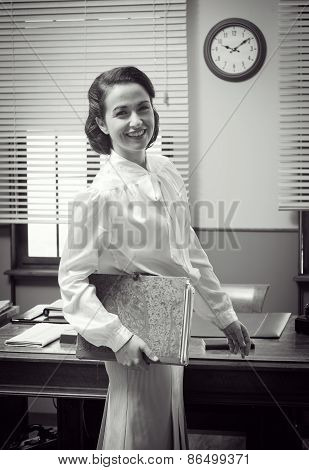 Cute Vintage Secretary At Work
