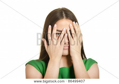 woman covered her face