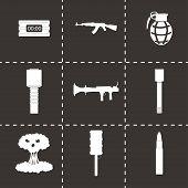 stock photo of terrorism  - Vector black terrorism icons set on black background - JPG