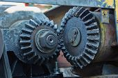 image of grease  - Pinion transmission mechanism old winch covered with grease - JPG