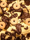 foto of ice cream parlor  - chocolate and vanilla ice cream with biscuits in a tray - JPG