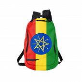 picture of ethiopia  - Ethiopia flag backpack isolated on white background - JPG