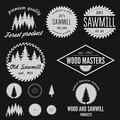 Set of logo, labels, badges and logotype elements for sawmill, carpentry and woodworkers poster