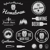 stock photo of brew  - Set of vintage logo or logotype elements for beer - JPG