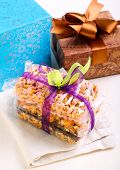 pic of crispy rice  - Puffed rice crispy bars wrapped as edible gift - JPG