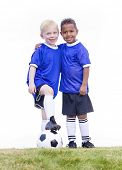 image of little-league  - Two diverse young soccer players on white background - JPG