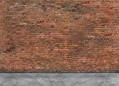 stock photo of foreground  - Old empty brick wall with part of foreground - JPG