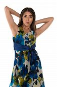 pic of petition  - Beautiful petite Eurasian woman in a blue and yellow print dress - JPG