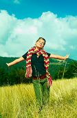 Woman and Mouintain Outdoors poster