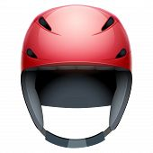 picture of nordic skiing  - Front view of red Emergency rescuer Ski and snowboard helmet - JPG