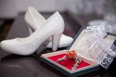 foto of garter  - beautiful white shoes from bride jewelery and garter  - JPG