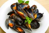 picture of boil  - Fresh tasty Boiled mussels with herbs on wood background - JPG