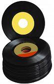 Постер, плакат: Vintage 45 RPM vinyl record albums