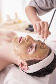 picture of beauty parlour  - Spa therapy for young asian woman receiving facial mask at beauty salon - JPG