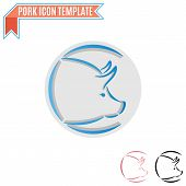 picture of pig head  - Pig head silhouette vector design template - JPG