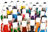 stock photo of gathering  - Social Gathering Digital Tablet Communication Society Concept - JPG