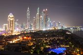 stock photo of dubai  - Dubai Marina skyscrapers at night - JPG
