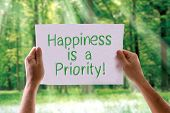foto of priorities  - Happiness is a Priority card with nature background - JPG