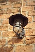 pic of lamp shade  - Old lamp brown brick wall - vintage background ** Note: Soft Focus at 100%, best at smaller sizes - JPG