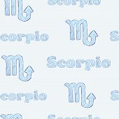 stock photo of scorpio  - Seamless texture with Scorpio zodiac sign the sketch on the blue - JPG